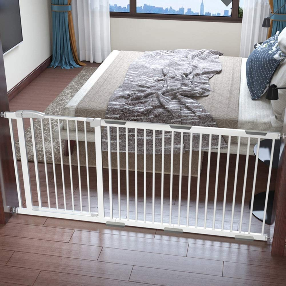 Dzdzxqg Extra Wide Pressure Fit Baby Safety Gate With 63 Cm Extension 138 145 Cm Extra Tall Extendable Metal Door Stair Gate For Kids And Dogs Unique 90 Two Way Open Stay