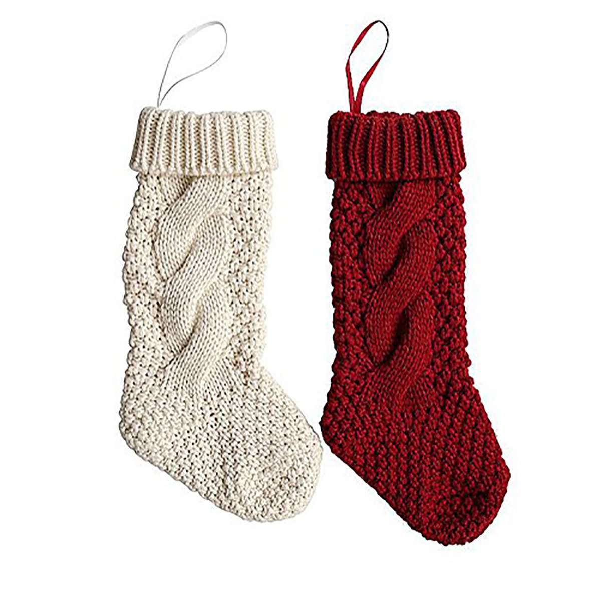 18'' Unique Knit Christmas Stockings,Burgundy and Ivory White,Hanging Ornament for Home Indoors (Red+White)