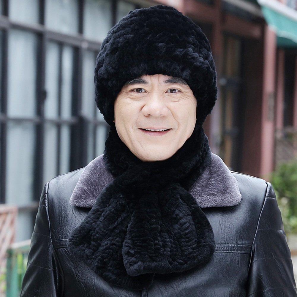 MEIDUO Sciarpa del cappello degli uomini Sciarpa di spessore invernale calda Tessitura Padre di mezza età Nero Marrone grigio ( Colore : Nero , dimensioni : Hat+scarf )