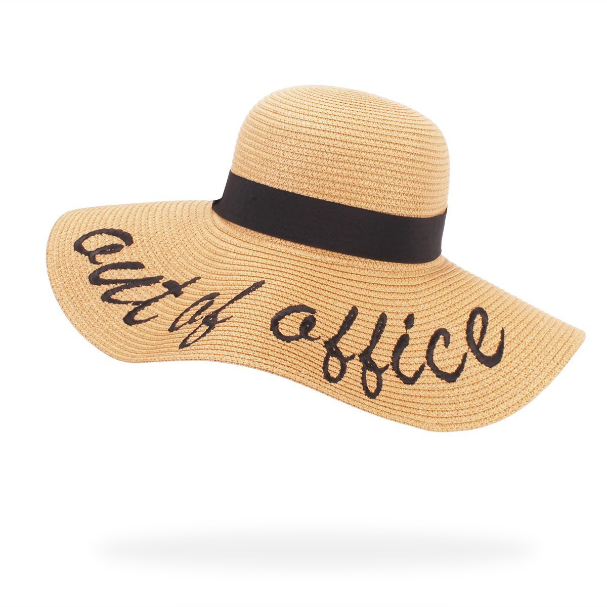 Jane Shine Beach Sun Hat Out of Office Embroidered Wide Brim Straw Floppy