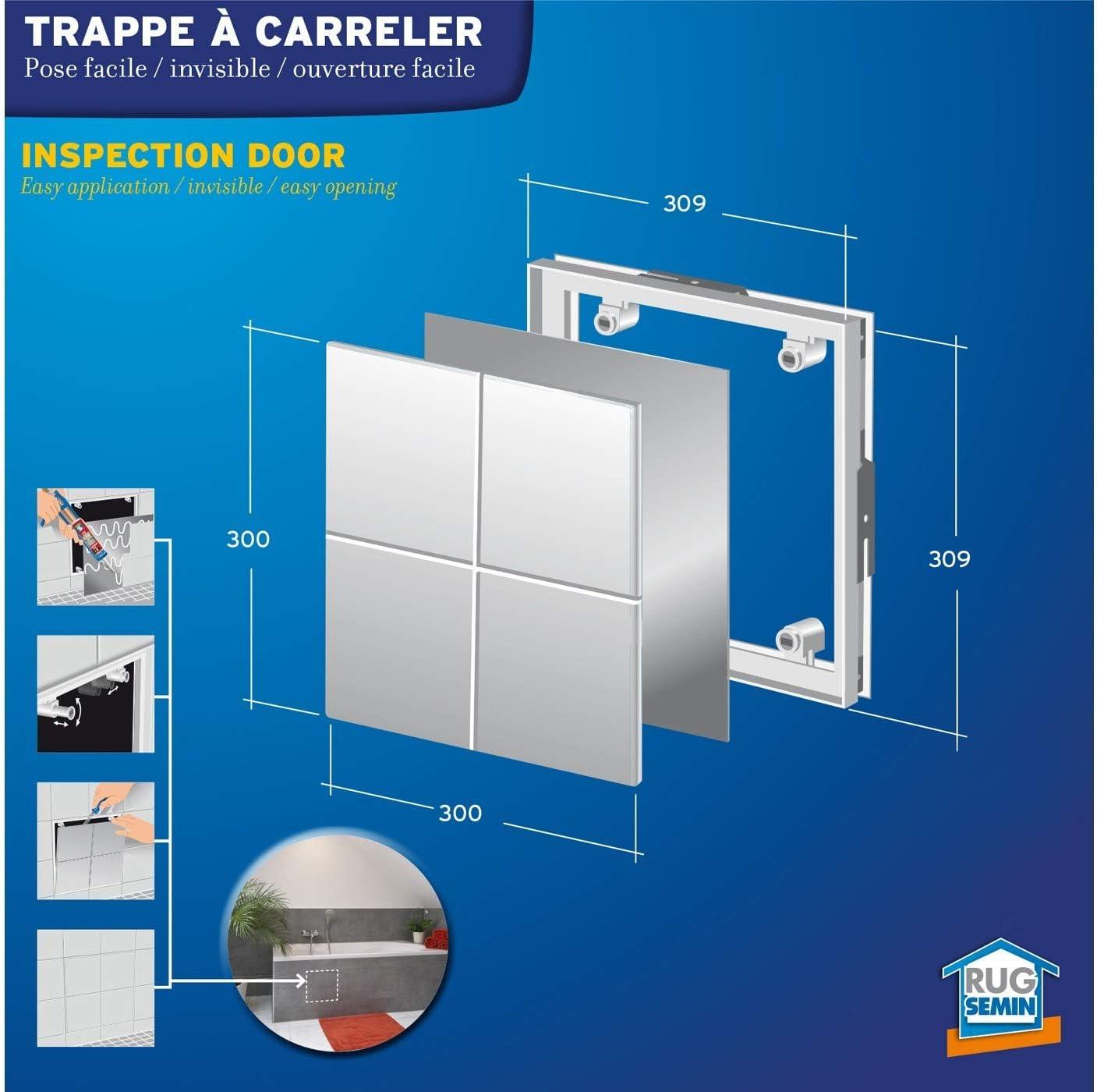 Trampa de visita a azulejos especial acceso bajo ba/ñera para habitaciones h/úmedas y cuarto de ba/ño Semin A05895 300 x 300 mm
