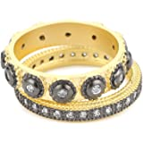 Freida Rothman Yellow Gold-Plated Sterling Silver and Cubic Zirconia Two-Tone Stacking Rings, Set of 2