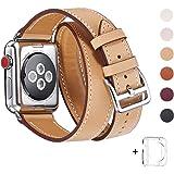 WFEAGL コンパチブル Apple Watch バンド,は本革レザーを使い、iWatch Series4/3/2/1、Sport、Edition向けのバンド交換ストラップです コンパチブル アップルウォッチ バンド (38mm 40mm, 二重巻き型 キャメル)