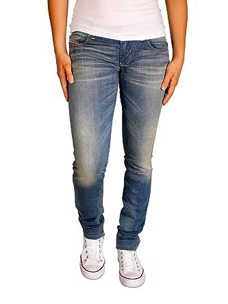 Diesel Grupee NE 600U 600U Jogg Jeans Damen Hose Super Skinny Blau Mittelblau