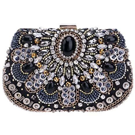 Fiesta Bolso Mujer Noche Bolsas Boda Carteras Mano Diamantes Cadena Embrague Negro