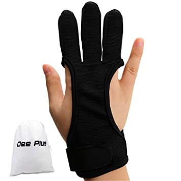 longbowmaker Traditioneller Schie/ßhandschuh 3 Finger Leder Bogenschie/ßen Handschuhe Fingerschutz AG31