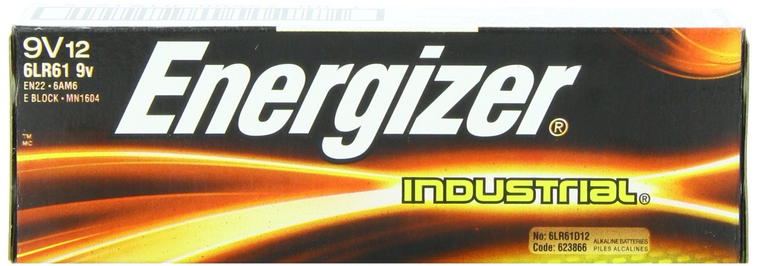 Energizer Industrial 9 Volt Batteries, Alkaline 9v Battery (12 Count)