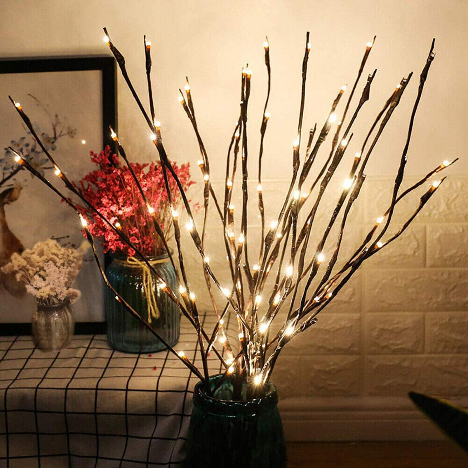2 Pack LED Branch Lights, Battery Powered Decorative Lights String, Willow Twig Lighted Branch for Home Decoration Warm White 20 Inches