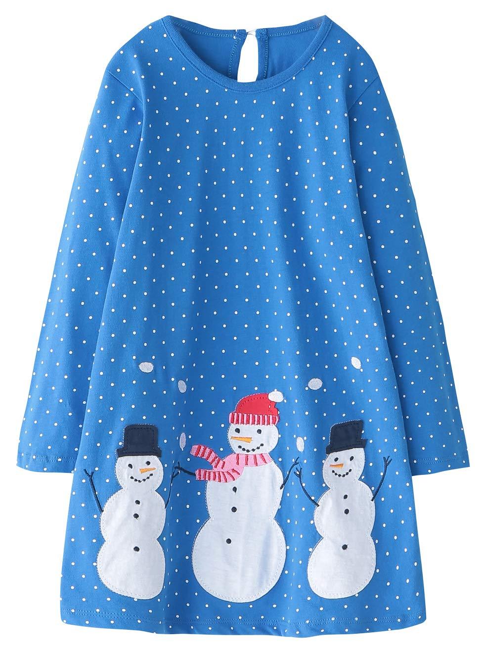 Fiream Girls Cotton Longsleeve Casual Dresses Applique Cartoon(1102,7T/7-8YRS)
