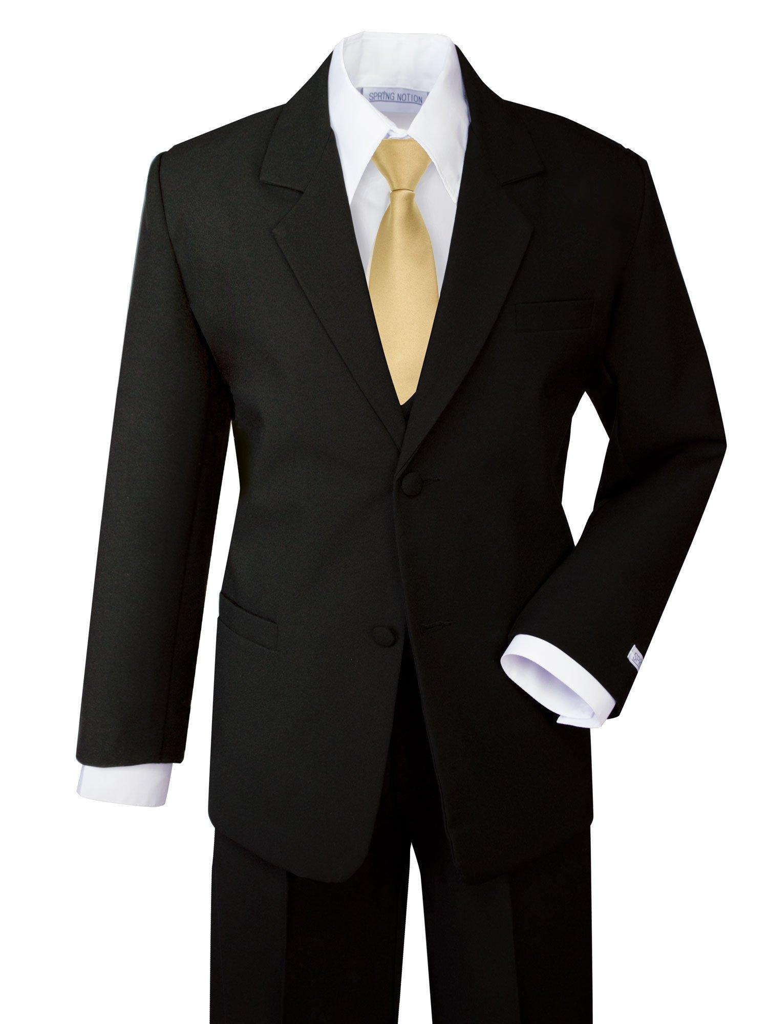 Spring Notion Boys' Formal Dress Suit Set 12 Black Suit Antique Gold Tie by Spring Notion