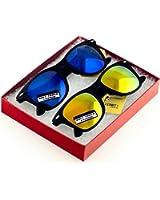 MJ Boutique's Classic Retro Classics Mirror Sunglasses - Blue/Yellow Color Mirror