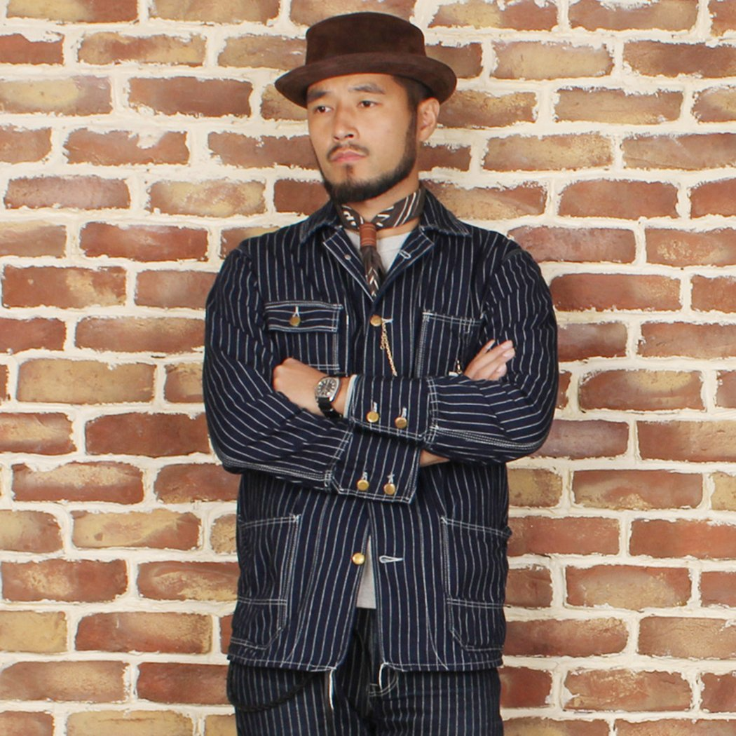 Men's Vintage Workwear – 1920s, 1930s, 1940s, 1950s Bronson 1900S Indigo Stripe Railroader Workwear Jacket $129.99 AT vintagedancer.com