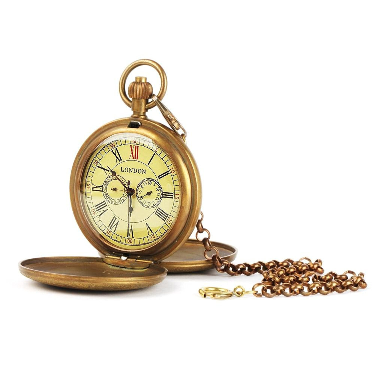 Carrie Hughes Vintage Brass Full Hunter Steampunk Skeleton Mechanical Pocket Watch with Chain CH70 by Carrie Hughes