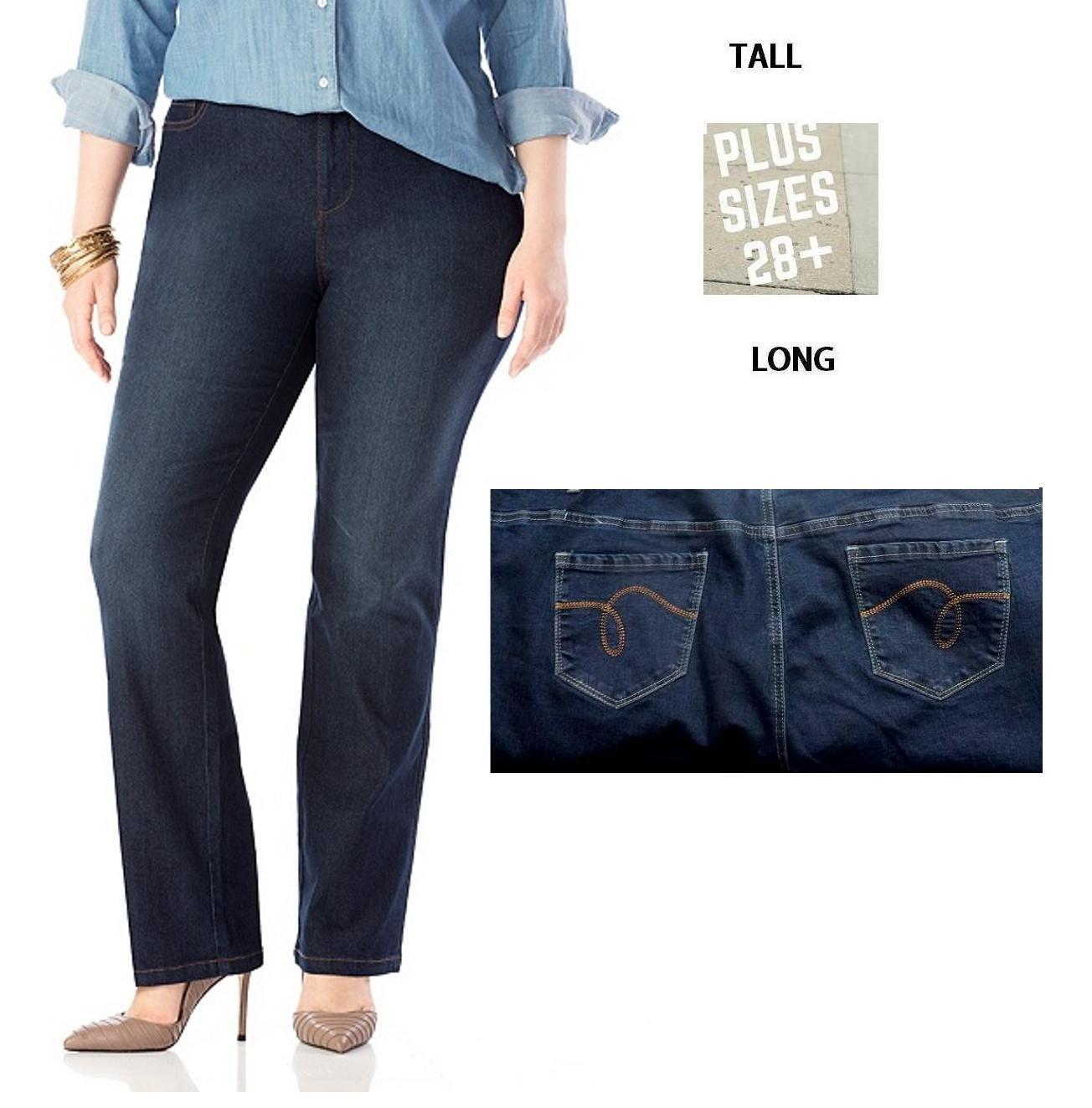 TL18 Womens Plus Size Tall Tummy Control Bootcut Delux Stretch Denim JEANS Pants (24-PLUS TALL)
