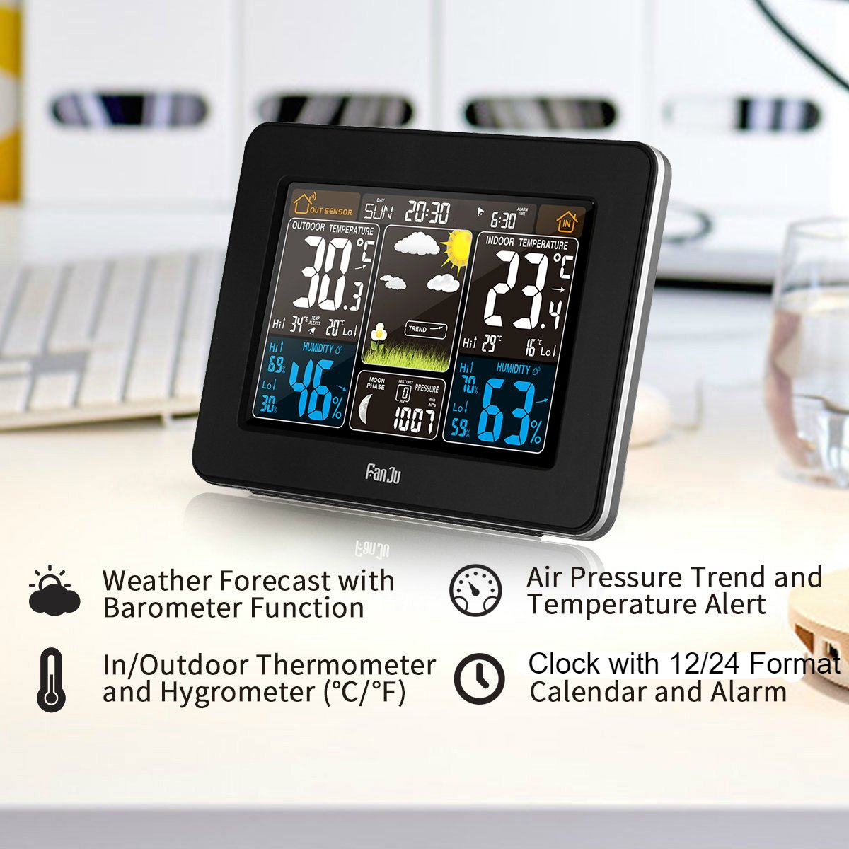 FanJu FJ3365B Digital Color Forecast Weather Station with Alert and Temperature/Humidity/Barometer/Alarm/Moon phase/Weather Clock with Outdoor Sensor by FanJu (Image #2)