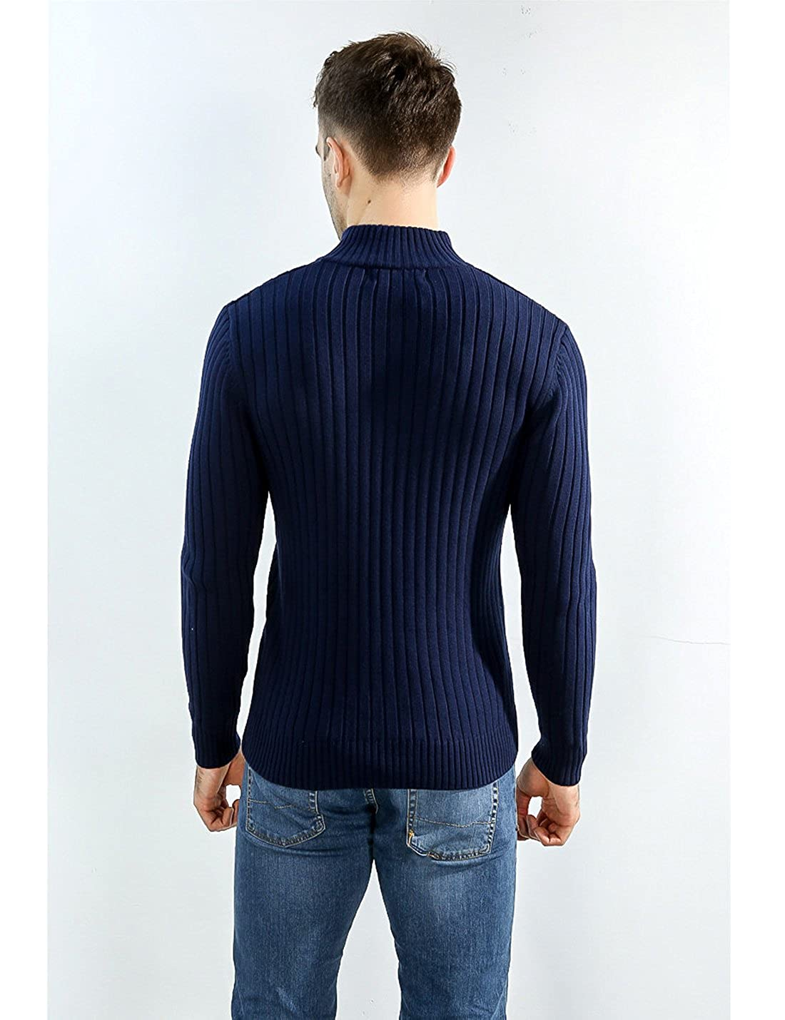 Jenkoon Men Slim Fit Zip-Up Sweater Casual Knitted Cardigans Jacket Top