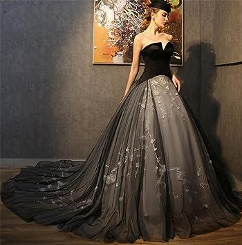 ELEGENCE-Z Vestido De Novia Negro De Moda Europea Y Americana Vestido De Novia De