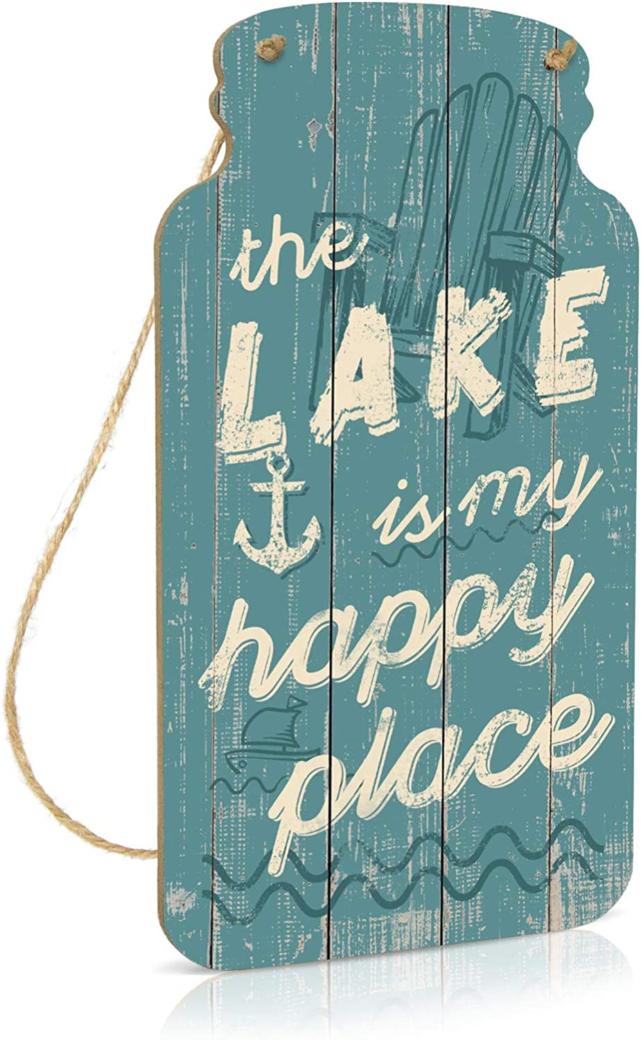 Putuo Decor Lake House Decor, Country Wall Decor for Home, Farmhouse, Living Room, Cafes Pubs, Kitchen, 8.3x4.5 Inches Mason Jar Wood Hanging Plaque Sign - The Lake is My Happy Place