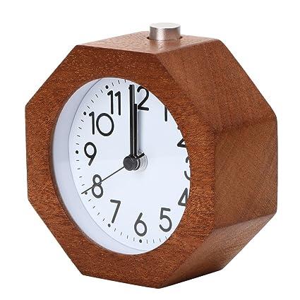 SYT Alarm Clock Reloj de Alarma de Madera Redondo sin Tic-TAC Snooze luz de
