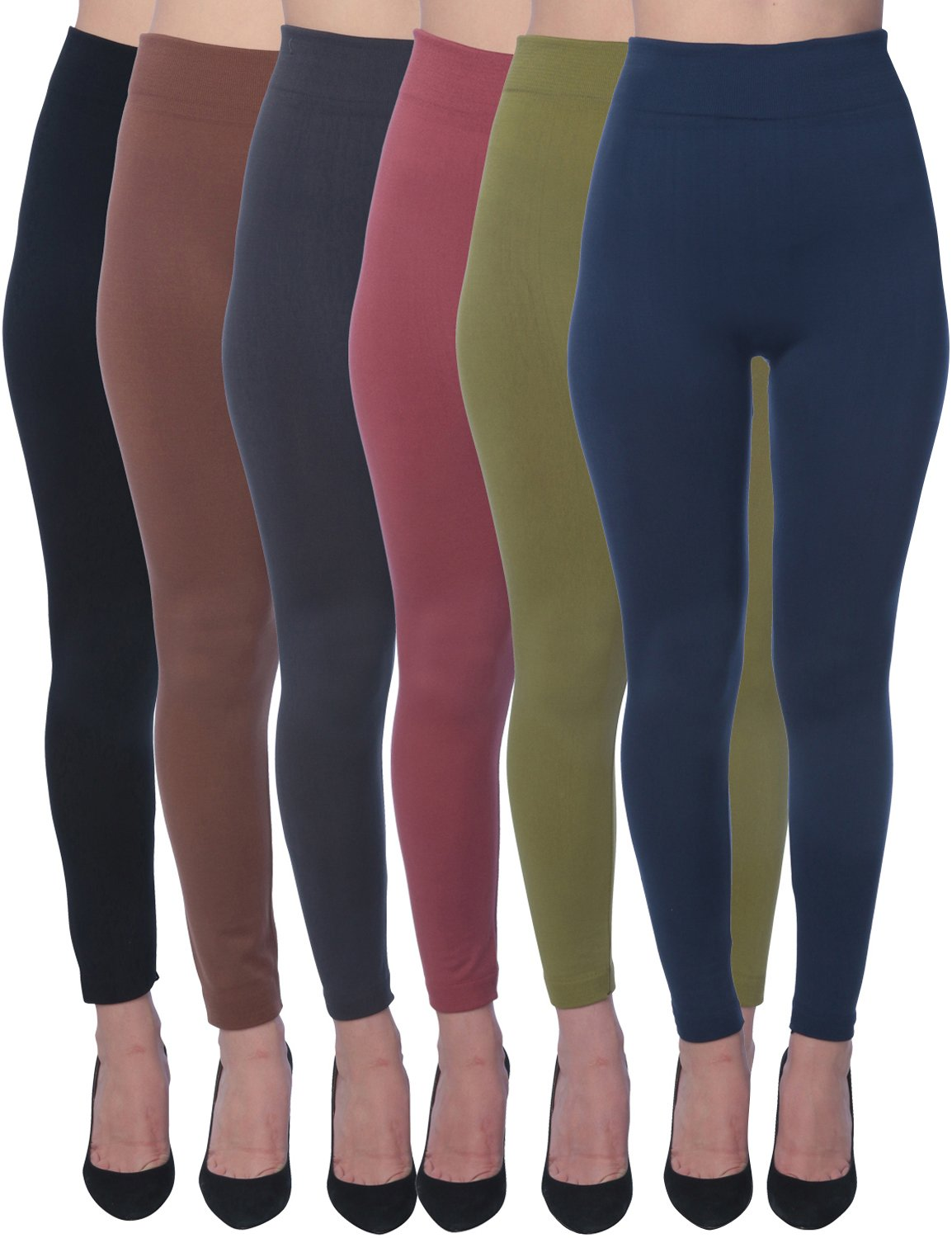 Active Club Women's Fleece Lined Leggings - Seamless High Waisted Soft Brushed,1X/2X,Black/Navy/Dk Grey/Olive/Rose/Brown