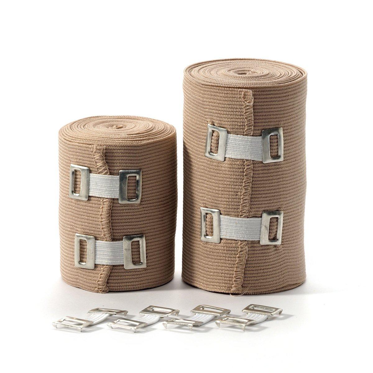 Elastic Bandage Wrap Compression Tape - 2 Compression Bandages + 4 Extra Clips - Compression Bandage - Ankle Wrap for Sprain - Compression Wrap - Compression Bandage - Athletic Wrap - Bandage Roll