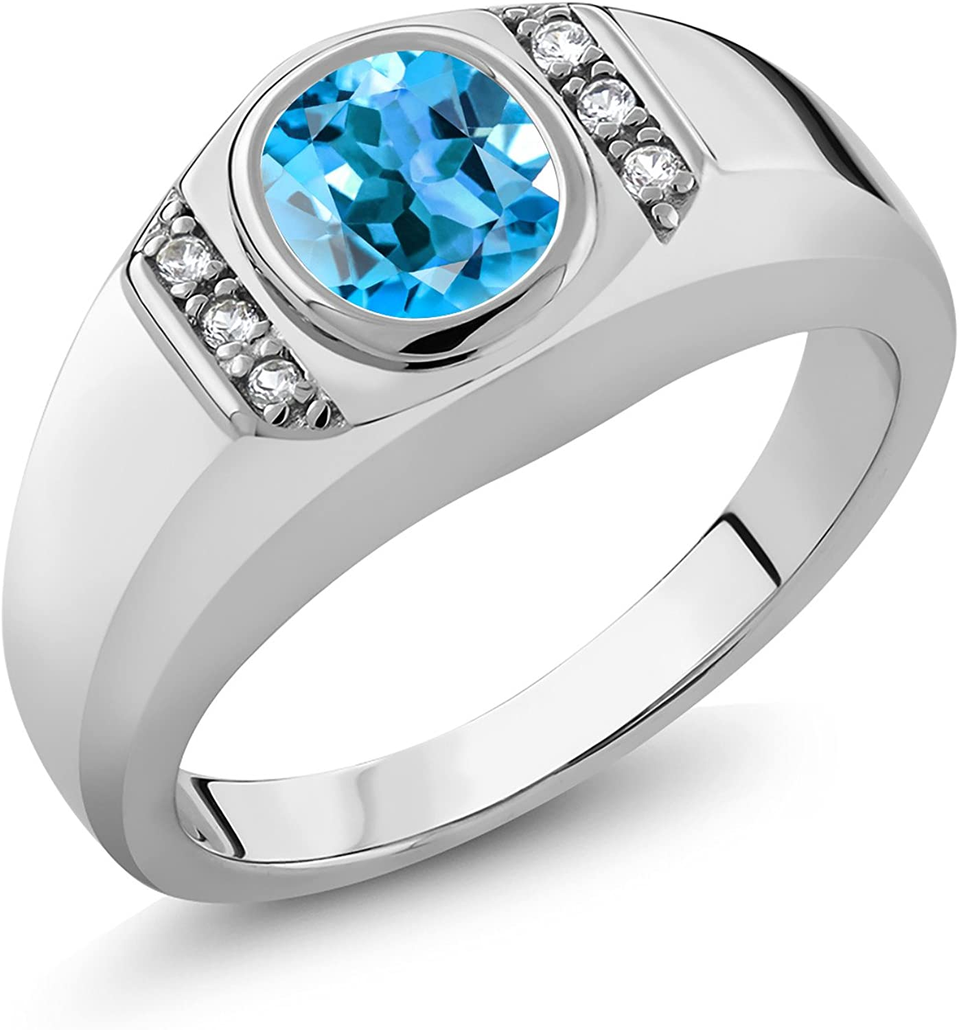 Gem Stone King Men's 925 Sterling Silver Swiss Blue Topaz and White Created Sapphire Ring (1.36 Ct)