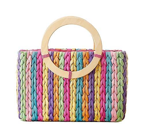 Amazon.com: Tonwhar Rainbow Stripes maíz cáscara bolsa de ...