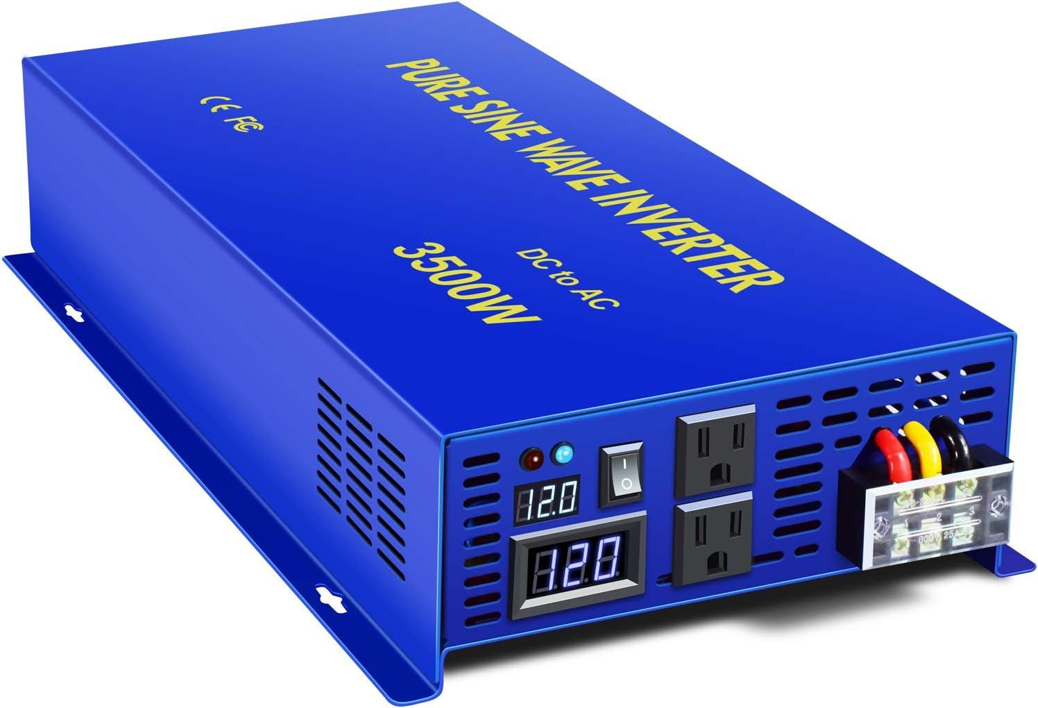 XYZ INVT Pure Sine Wave Power Inverter 3500W / 7000W (Peak) Car Caravan RV Camping Boat DC 12V Inverter Soft Start 12V DC to AC 110V DC Inverter Converter with LCD Display