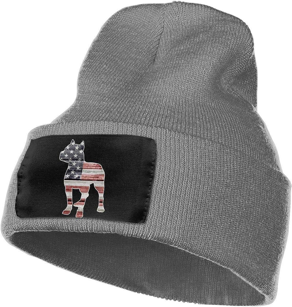 Miedhki Gorra de Punto de acrílico 100% para Mujer para Hombre, Gorra patriótica de esquí de Moda de la Bandera Americana de Pitbull
