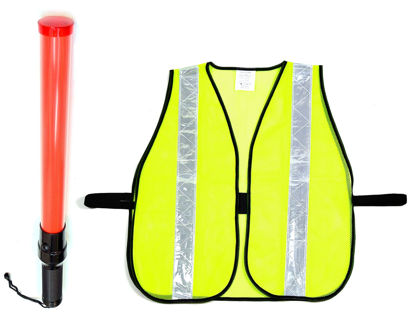 RK Signal Traffic Wand Baton LED Flashlight and Safety Vest Combo Set (21 -Inch, Safety Vest -Lime)