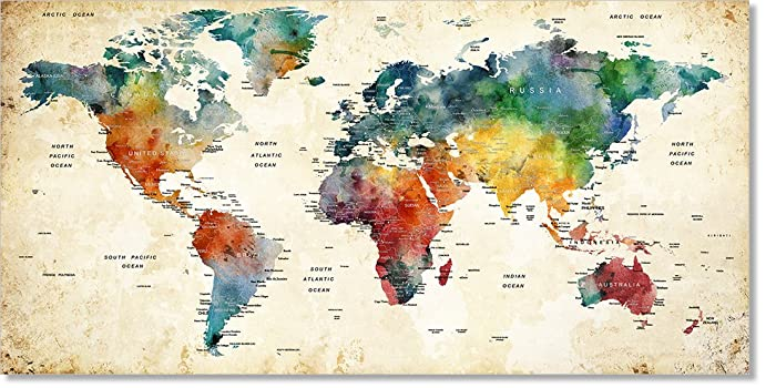Amazon.com: Modern Globe Travel Push Pin World Map Art Print, Extra ...