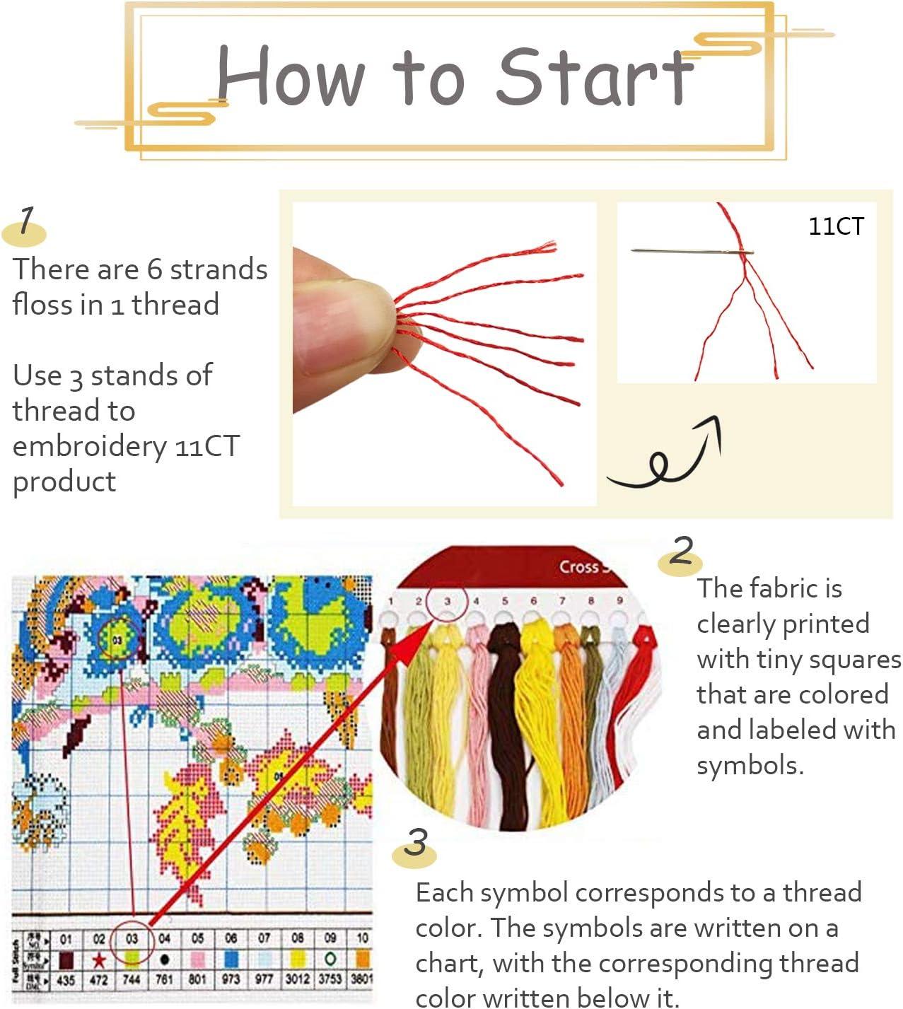 KAMIERFA Kreuzstich Stickpackungen Vorgedruckt 11CT DIY Stickerei Bilder Set Anf/änger Kreuz N/ähen Handarbeit Cross Stitch Kit 50x50cm Elefant