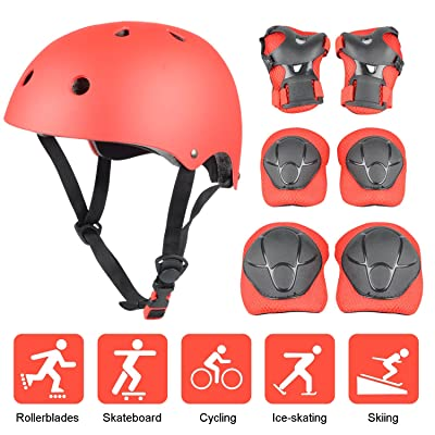 Kid's Protective Gear Set, Yacool Child's Adjustable Helmet, Knee Pads, Elbow Pads and Wrist Pad for Skateboard Roller Skating Cycling Rollerblades