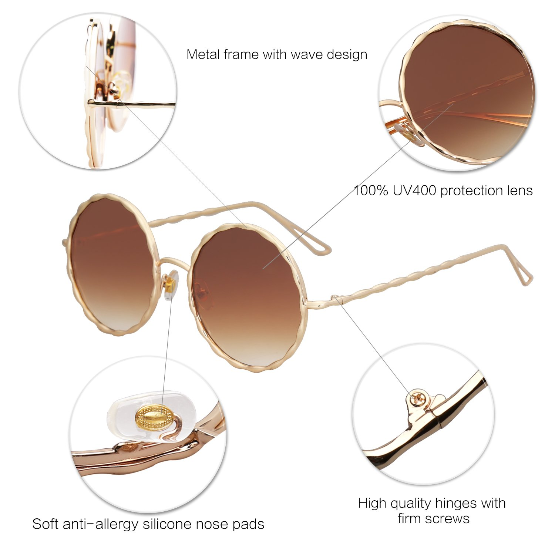 SOJOS Sonnenbrille Runde Rahmen mit Kristall Groß Retro Damen SJ1095 ...