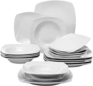 Malacasa 18 Pieces Dinnerware Set Square Dishes White 6 Dinner Plates 6 Soup Plates 6 Dessert Plates Service For 6 Series Julia Dinnerware Sets Amazon Com