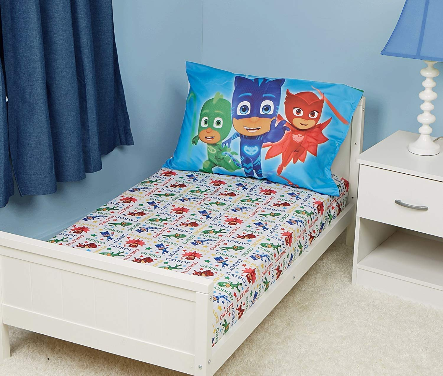 EVERYDAY KIDS PJ Masks Toddler Fitted Sheet and Pillow Case Set Fits Toddler Bed