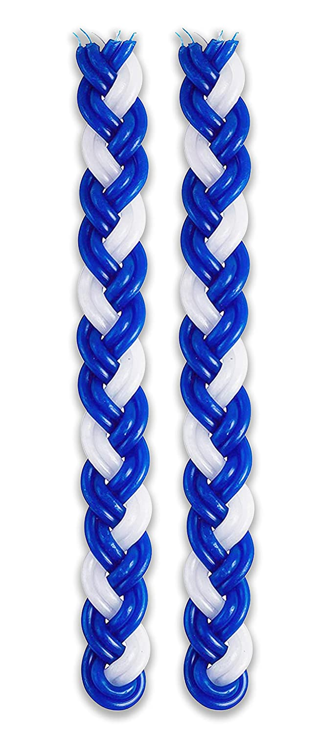 Handcrafted Havdallah Candle Shabbat Judaica Gift 20083 Extra Large 15-Inch Blue and White Paraffin Wax Ner Mitzvah 12-Pack Braided Havdalah Candle