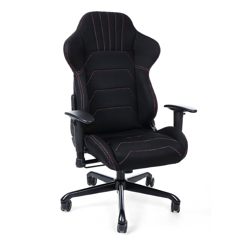 SONGMICS Gaming Stuhl Bürostuhl Schreibtischstuhl mit Armlehnen, Sportsitz Optik, Polyestergewebe, Polyestergewebe, Polyestergewebe, schwarz 70 x 75 x 111-119 cm RCG04B b68df8