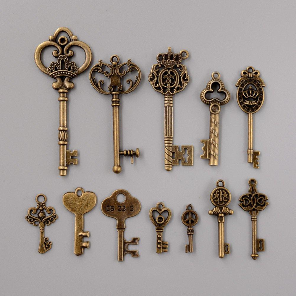 Kicode 12 Assorted Antique Vintage Old Look Large Skeleton Royal Keys Bronze Pendants Vintage Key Collectibles DIY Living Bed Room Home Decoration Decor