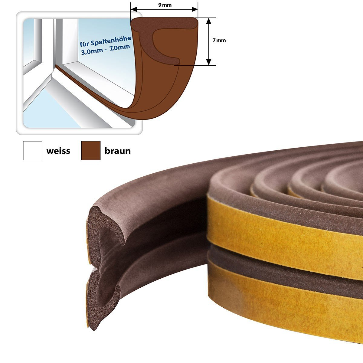 STEIGNER 40 m Self-Adhesive Window And Door Seal Profile V Brown Rubber Seal EPDM Drought Excluder Strip Weather Stripping