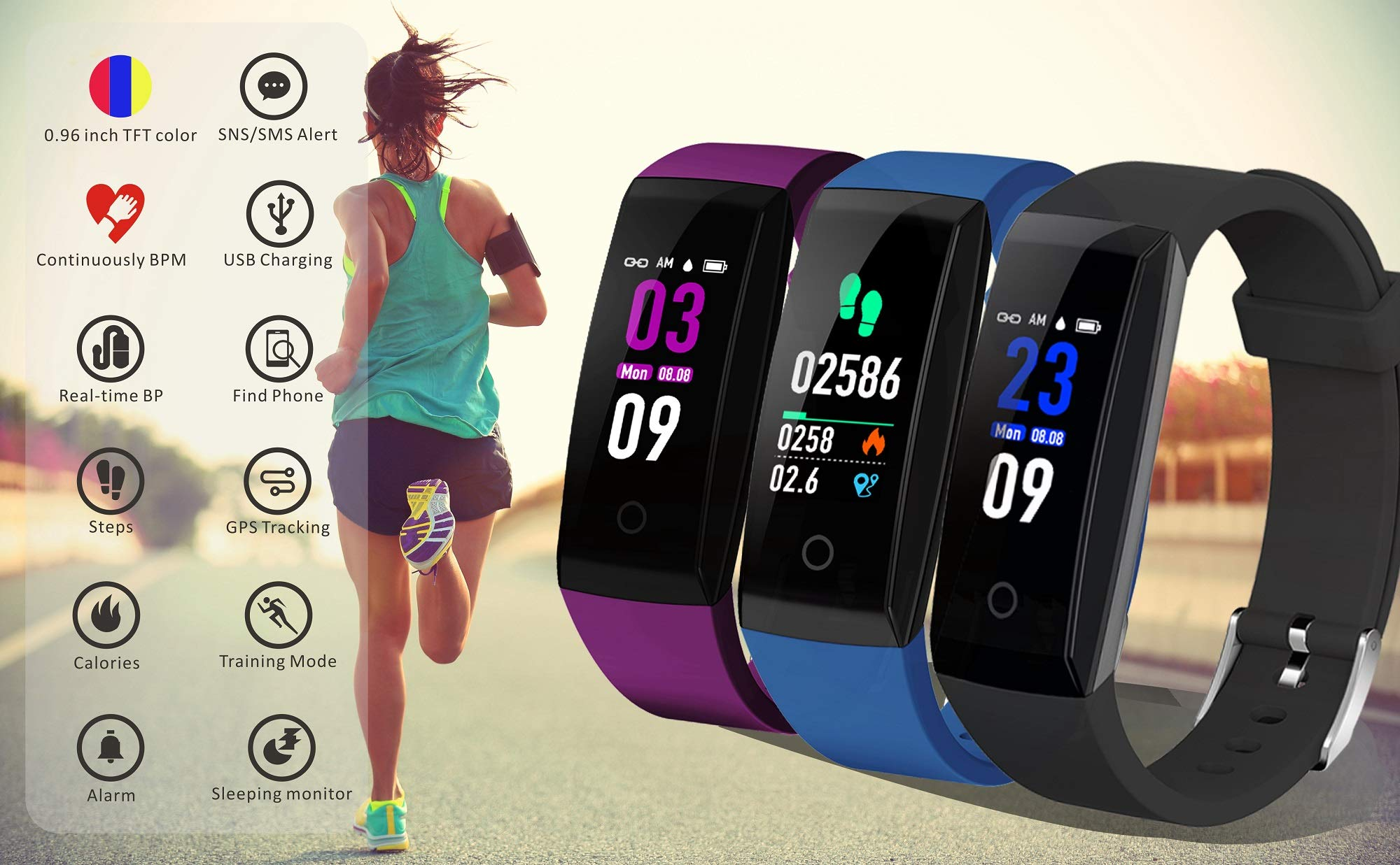 DoSmarter Fitness Tracker, Color Screen Activity Health Tracker with Heart Rate Blood Pressure Monitor, Waterproof Smart Pedometer Watch Band with Step Calories Counter for Kids Woman Man, Purple by DoSmarter (Image #3)
