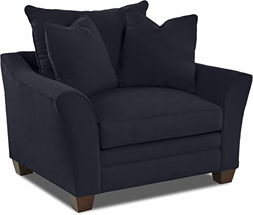 Klaussner Home Furnishings Paxton Accent Armchair with 2 Throw Pillows, 44 L x 53 W x 31 H, Indigo