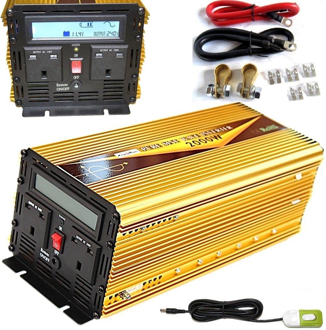 2000 W/pico de 4000 W dc12 V-ac240 V onda sinusoidal pura inversor de corriente con pantalla LCD + mando a distancia interruptor: Amazon.es: Electrónica
