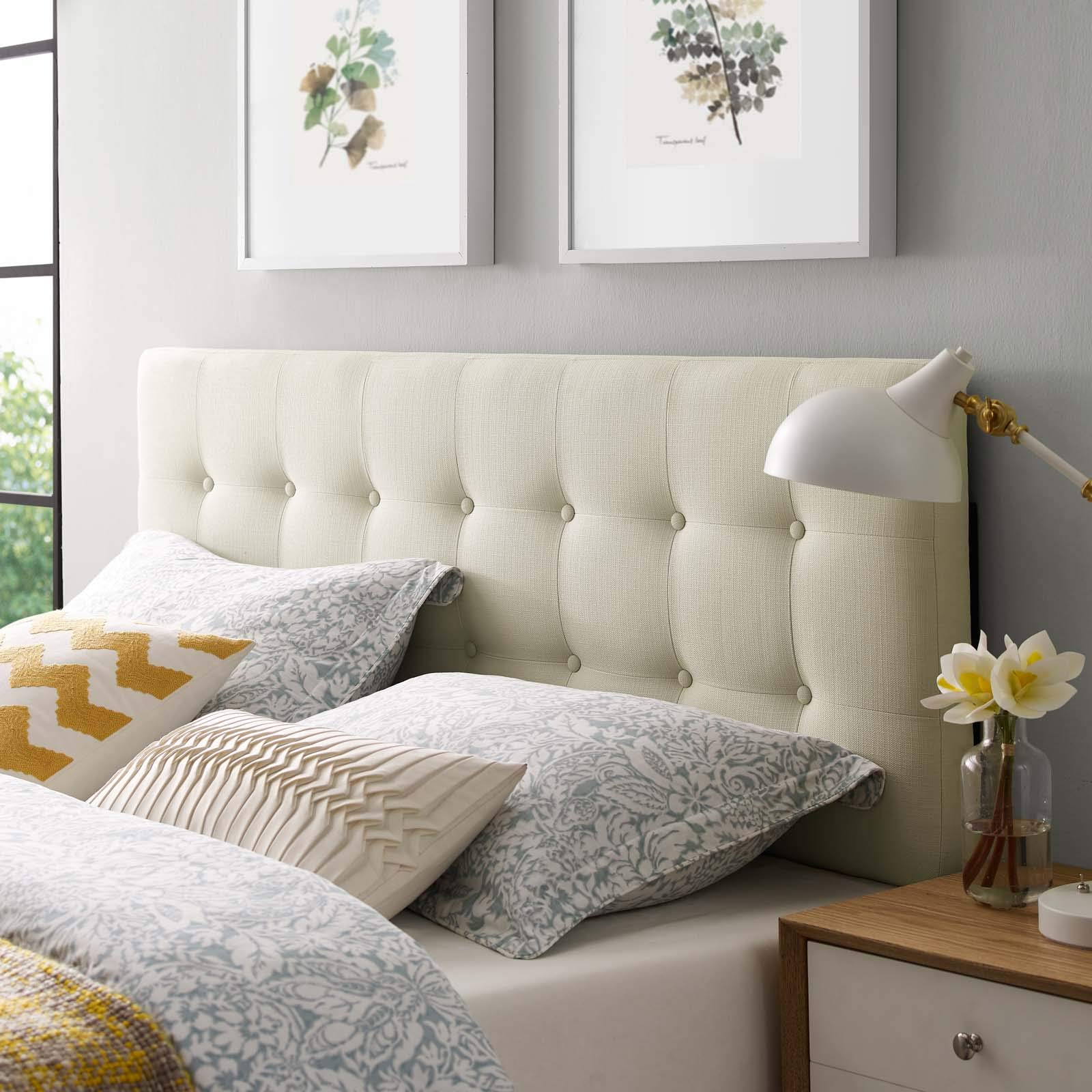 Modway Emily Tufted Button Linen Fabric Upholstered Queen Headboard in Ivory by Modway