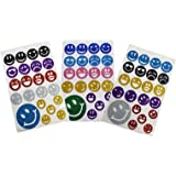 Asian Hobby Crafts Smiley Glitter Foam Stickers ,3 sheets( 30 x 19cm)