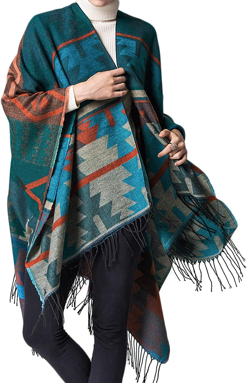 GRACE KARIN Winter Poncho Cape Open Front Blanket Shawl and Wrap Cloak Cardigan Sweater Coat