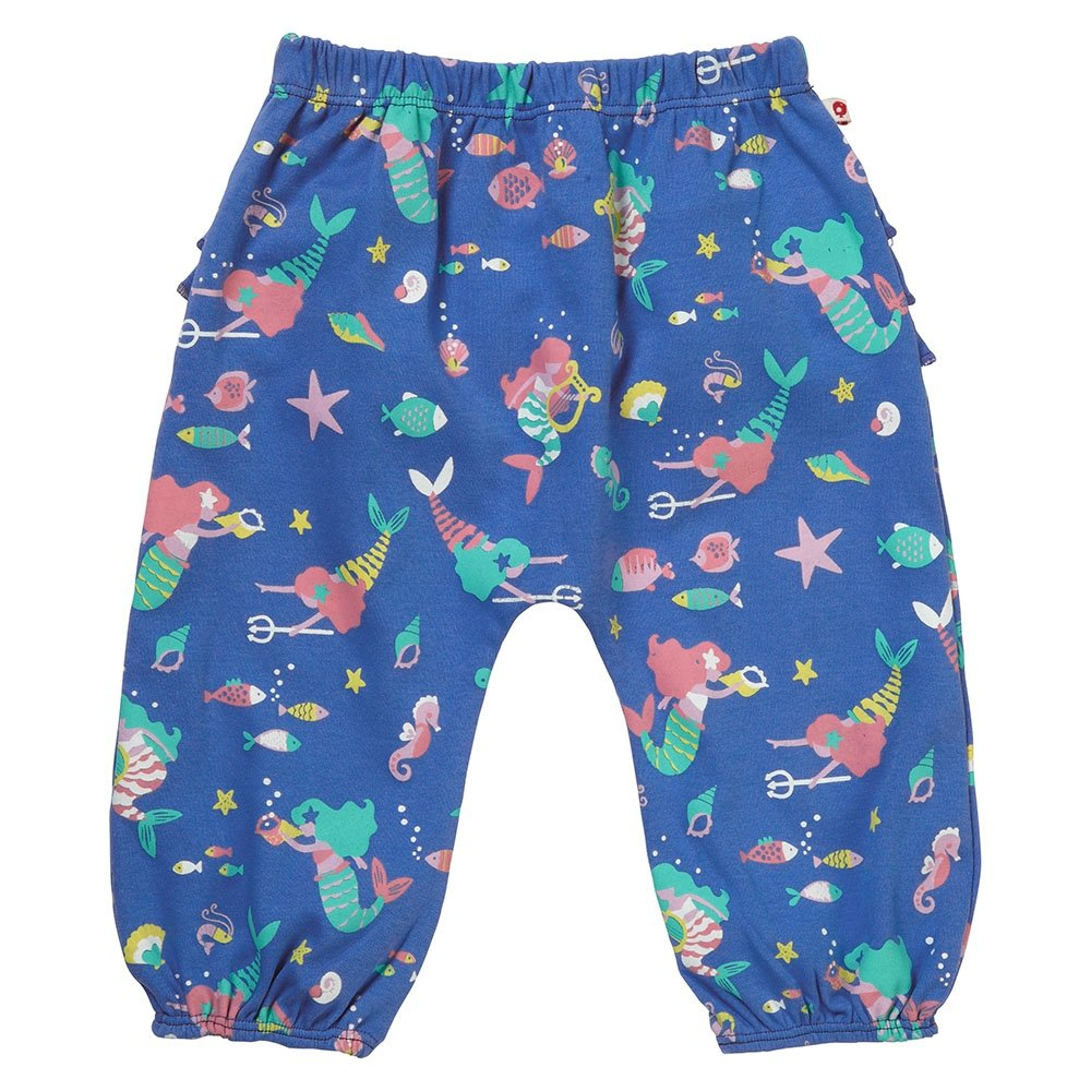 Piccalilly Blue Mermaid Baby Girls Jersey Organic Cotton Trousers with Ruffle