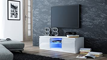MMT White Gloss TV Cabinet With LED Blue Lights   For 32 Inch To 50 Inch