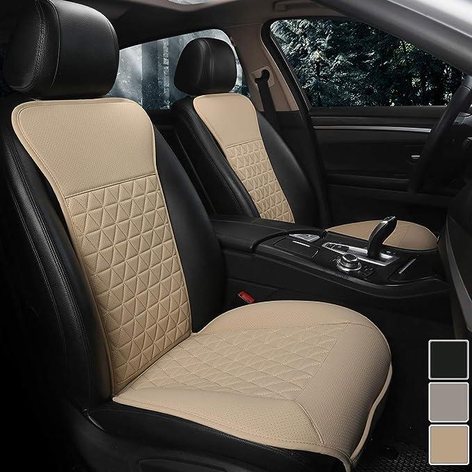 Black Panther 1 Paar Luxus Pu Leder Sitzbezüge Auto Vordersitze Kompatibel Mit 95 Autos Limousine Suv Pickup Van Beige Auto
