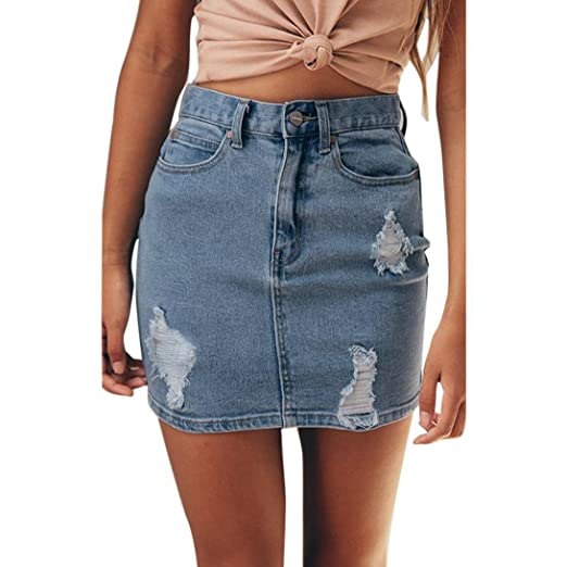 9bc51708d Elogoog Denim A-Line Skirt, Women's Basic Casual Distressed Ripped Pocket Short  Mini Denim